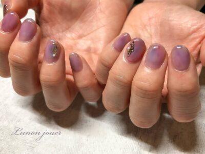 紫陽花カラーのニュアンスネイル